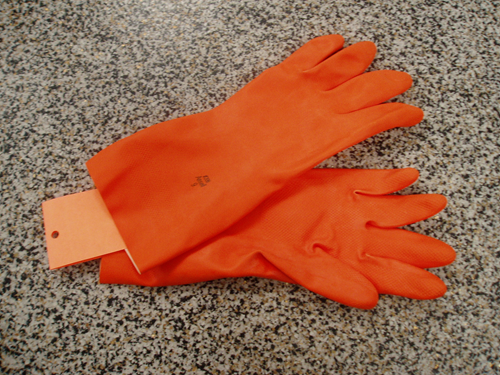 Picture of Gloves orange latex heavy-duty Large