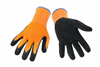 Picture of Orange latex glove with nylon